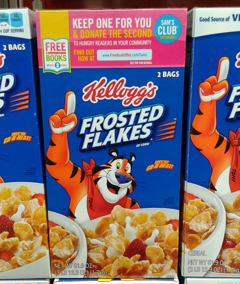 Kellogg's Frosted Flakes has the 1 box, 2 books label #Back2SchoolStockUp #cbias #Ad