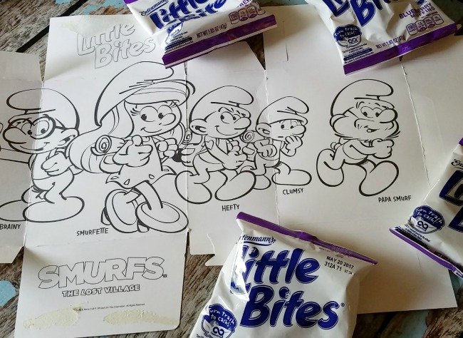 Entenmann's® Little Bites® Smurfs the Lost Village coloring picture inside the box!