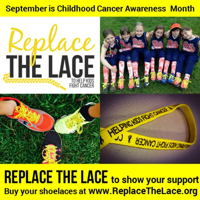 September is Childhood Cancer Awareness month and you can help by replacing your shoe laces with Replace the Lace